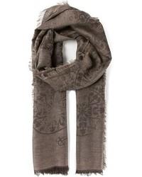 Коричневый шарф с принтом