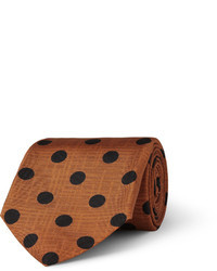 Коричневый шелковый галстук в горошек