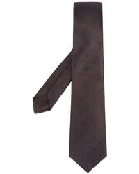 Мужской коричневый шелковый галстук в горошек от Kiton