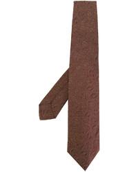 Мужской коричневый шелковый галстук с вышивкой от Kiton
