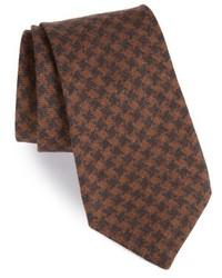 """Коричневый шерстяной галстук с узором """"гусиные лапки"""""""