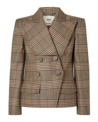 Женский коричневый шерстяной двубортный пиджак в клетку от Fendi