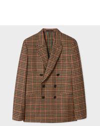 Коричневый шерстяной двубортный пиджак