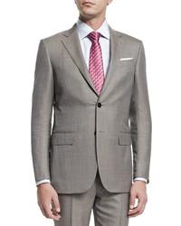 Мужской коричневый шерстяной костюм от Ermenegildo Zegna
