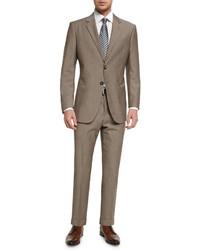 Мужской коричневый шерстяной костюм от Giorgio Armani