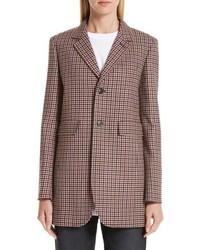Коричневый шерстяной пиджак в клетку