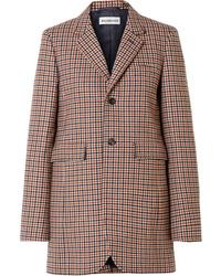 Женский коричневый шерстяной пиджак в клетку от Balenciaga