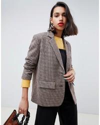 Женский коричневый шерстяной пиджак в клетку от Side Party