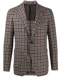 Мужской коричневый шерстяной пиджак в мелкую клетку от Tagliatore