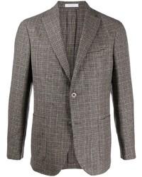 Мужской коричневый шерстяной пиджак в шотландскую клетку от Boglioli