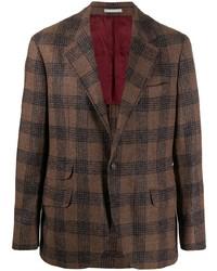 Мужской коричневый шерстяной пиджак в шотландскую клетку от Brunello Cucinelli