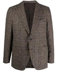 Мужской коричневый шерстяной пиджак в шотландскую клетку от Caruso
