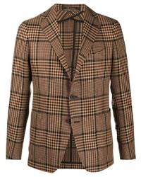 Мужской коричневый шерстяной пиджак в шотландскую клетку от Tagliatore