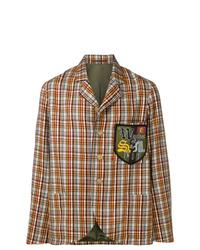 Мужской коричневый шерстяной пиджак в шотландскую клетку от Walter Van Beirendonck