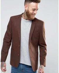 Мужской коричневый шерстяной пиджак от Asos