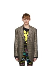 Мужской коричневый шерстяной пиджак от Gucci