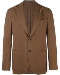 Мужской коричневый шерстяной пиджак от Lardini