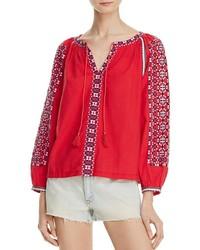 Красная блуза-крестьянка с вышивкой