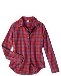 Красная блуза на пуговицах в мелкую клетку