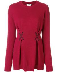 Красная блузка с вышивкой от Fendi