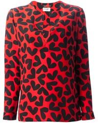 Красная блузка с длинным рукавом с принтом
