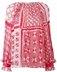 Красная блузка с длинным рукавом с принтом от Fendi