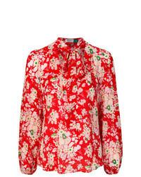 Красная блузка с длинным рукавом с цветочным принтом