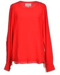 Женская красная блузка с длинным рукавом от Maison Margiela