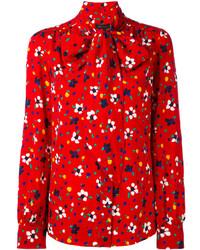 Красная блузка с цветочным принтом от Marc Jacobs