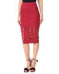 Красная вязаная юбка-карандаш от Cushnie et Ochs