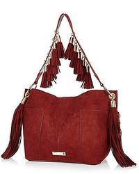 Красная замшевая сумка-мешок