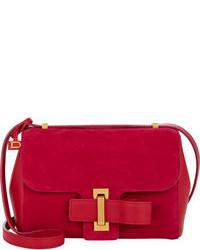 Красная замшевая сумка через плечо