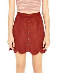 Красная замшевая юбка на пуговицах