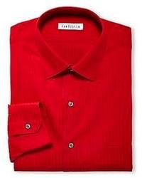 Красная классическая рубашка в вертикальную полоску