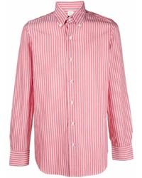 Мужская красная классическая рубашка в вертикальную полоску от Finamore 1925 Napoli