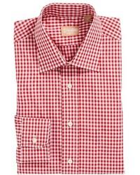 Красная классическая рубашка в мелкую клетку