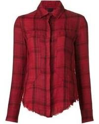 Красная классическая рубашка в шотландскую клетку