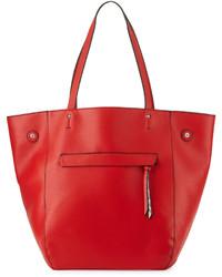 Красная кожаная большая сумка со змеиным рисунком