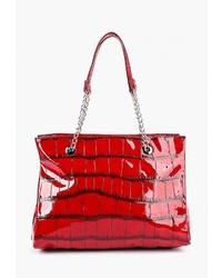 Красная кожаная большая сумка со змеиным рисунком от Antan