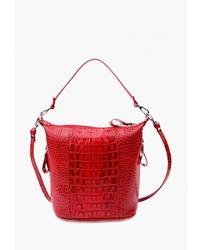 Красная кожаная большая сумка со змеиным рисунком от Esse