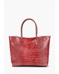 Красная кожаная большая сумка со змеиным рисунком от LAMANIA