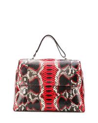 Красная кожаная большая сумка со змеиным рисунком от Orciani