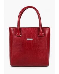 Красная кожаная большая сумка от Alessandro Birutti