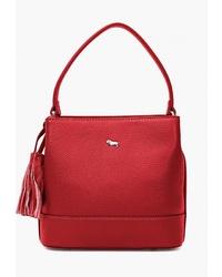 Красная кожаная большая сумка от Labbra