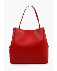 Красная кожаная большая сумка от LAMANIA