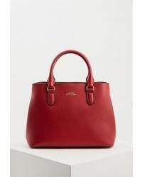 Красная кожаная большая сумка от Lauren Ralph Lauren