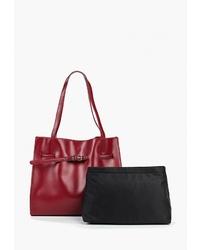Красная кожаная большая сумка от Marco Bonne`