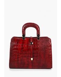 Красная кожаная большая сумка от Roberta Rossi