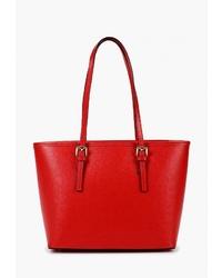 Красная кожаная большая сумка от Roberto Buono