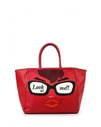 Женская красная кожаная большая сумка от Tom & Eva
